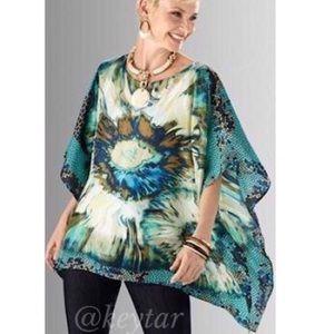S/M Chico's silk kaftan poncho blouse tie dye